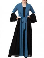 Mushkiya Nida Matte Abaya Like Dress with Attached Shrug and a Belt in French Blue and Black