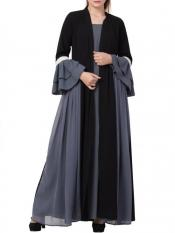 Mushkiya Nida Matte Abaya Like Dress with Attached Shrug and a Belt in Grey and Black