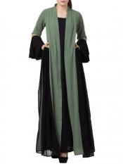 Mushkiya Nida Matte Abaya Like Dress with Attached Shrug and a Belt in Jade Green and Black