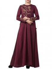 Mushkiya Premium Nida Designer Abaya with Hand Work on Yoke and Sleeves with a Matching Stole in Burgundy