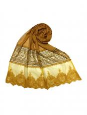 Stole For Women Premium Cotton Designer Diamond Studed Stole in Yellow