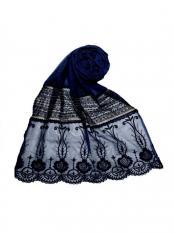 Stole For Women Premium Cotton Designer Diamond Studed Stole in Blue