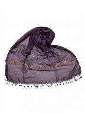 Stole For Women Premium Cotton Triple Border String Studed Stole in Purple