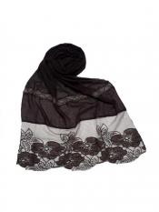 Stole For Women Premium Cotton Designer Diamond Flower Bordered Stole in Brown