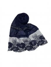 Stole For Women Premium Cotton Designer Diamond Flower Bordered Stole in Blue