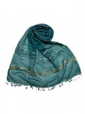 Stole For Women Premium Cotton Triple Border String Studed Stole in Green