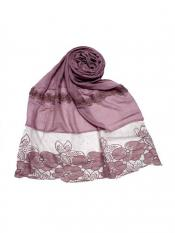 Stole For Women Premium Cotton Designer Diamond Flower Bordered Stole in Purple