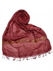 Stole For Women Premium Cotton Triple Border String Studed Stole in Maroon