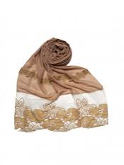 Stole For Women Designer Premium Cotton Diamond Flower Bordered Stole in Brown