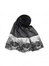 Stole For Women Premium Cotton Designer Diamond Flower Bordered Stole in Grey