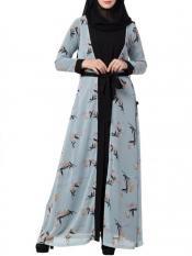 Mushkiya Nida Matte Abaya With Attached Shrug and a Matching Belt in Sky Blue and Black