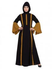 Mushkiya Nida Matte Designed Abaya In Golden brown