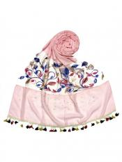 Stole For Women Premium Cotton Designer Flower Ari Diamond Collection in Pink