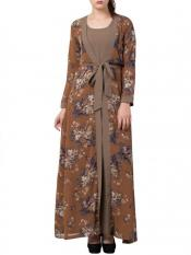 Mushkiya Nida Matte Abaya With Attached Shrug and a Matching Belt in Oat and Multi Colour