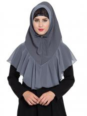 Mushkiya Khimar Nida Matte Ready To Wear Instant Hijabs In Grey