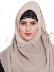Mushkiya Khimar Nida Matte Ready To Wear Instant Hijabs In Light Beige