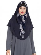 Mushkiya Khimar Nida Matte Ready To Wear Instant Hijabs In navy Blue