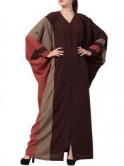 Mushkiya Nida Matte Front Open Designer Kaftan in Brown and Multi Colour