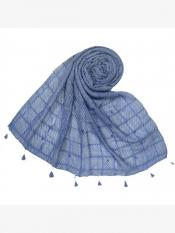 Stole For Women Cotton Box Chekered Fringe's Stole in Blue