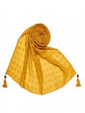Stole For Women Cotton Designer Puff Checkered Stole in Yellow