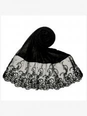 Stole For Women Premium Cotton Designer Stole with Flower Print in Black