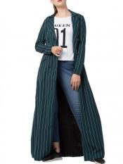 Mushkiya Heather Moss Long Full Length Coat with Stripes in Green