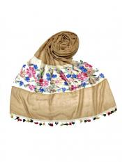 Stole For Women Premium Cotton Flower Ari Diamond Collection in Brown