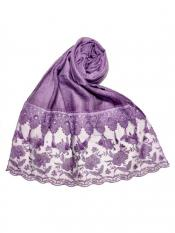 Stole For Women Premium Cotton Double Bordered Fringe's Hijab in Purple