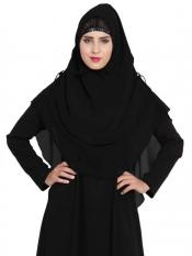 Mushkiya Nida Matte Khimar Stylish Instant Hijab with Dual Layer In Black