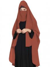 Mushkiya Nida Matte Irani Chadar Rida Hijab With Detachable Nose Piece In Rust