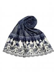 Stole For Women Premium Cotton Double Bordered Fringe's Hijab in Blue