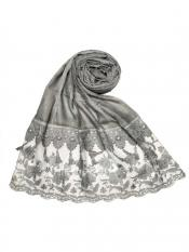 Stole For Women Premium Cotton Double Bordered Fringe's Hijab in Grey
