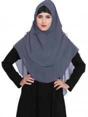 Mushkiya Nida Matte Khimar Stylish Instant Hijab With Dual Layer In Grey