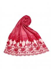 Stole For Women Premium Cotton Double Bordered Fringe's Hijab in Red