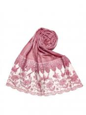 Stole For Women Premium Cotton Double Bordered Fringe's Hijab in Pink