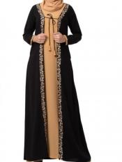 Mushkiya Nida Matte Two Piece Set of Abaya and Embroidered Cardigan in Sand and Black