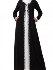 Mushkiya Nida Matte Two Piece Set of Abaya and Embroidered Cardigan in Off White -Black
