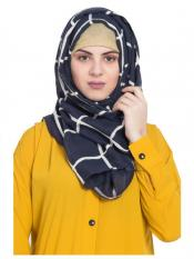 Stole For Women 100 % Pure Cotton Designer Grid Hijab in Blue