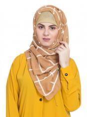 Stole For Women 100 % Pure Cotton Designer Grid Hijab in Yellow