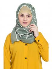 Stole For Women 100 % Pure Cotton Designer Grid Hijab in Green