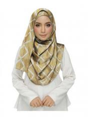 Stole For Women Premium Cotton Designer Zic Zac Grid Hijab in Brown