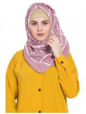 Stole For Women 100 % Pure Cotton Designer Grid Hijab in Pink