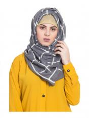 Stole For Women 100 % Pure Cotton Designer Grid Hijab in Grey