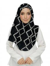 Stole For Women Premium Cotton Designer Zic Zac Grid Hijab in Black