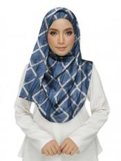 Stole For Women Premium Cotton Designer Zic Zac Grid Hijab in Blue