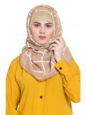 Stole For Women 100 % Pure Cotton Designer Grid Hijab in Brown