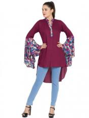 Mushkiya Rayon Giant Bell Sleeves Kurti in Purple