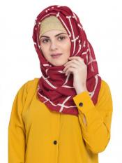 Stole For Women 100 % Pure Cotton Designer Grid Hijab in Maroon