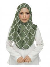 Stole For Women Premium Cotton Designer Zic Zac Grid Hijab in Green