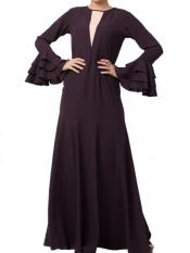 Mushkiya Nida Matte Slim Fit Dress With Multi Layered Bell Sleeves In Dark Purple